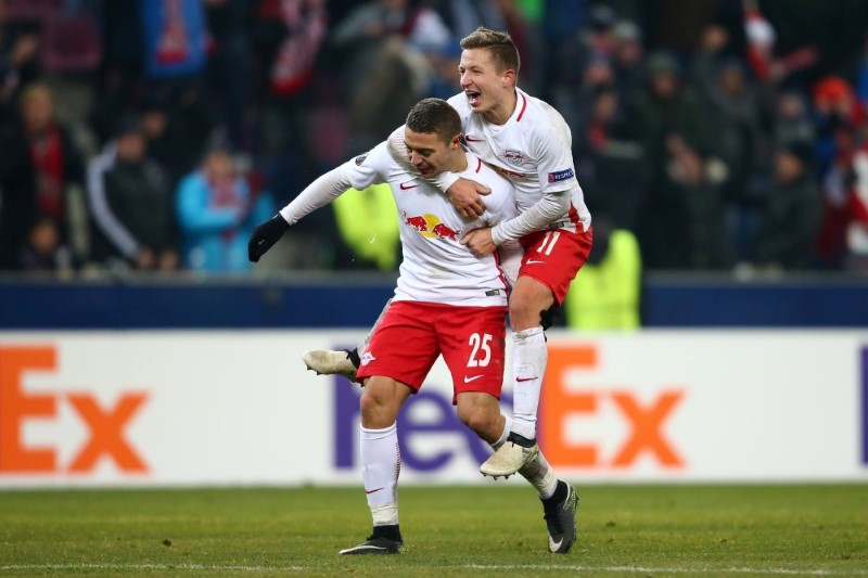 SALZBURG,AUSTRIA,08.DEC.16 - SOCCER - UEFA Europa League, group stage, Red Bull Salzburg vs FC Schalke 04. Image shows the rejoicing of Josip Radosevic and Marc Rzatkowski (RBS). Photo: GEPA pictures/ Felix Roittner - For editorial use only. Image is free of charge.