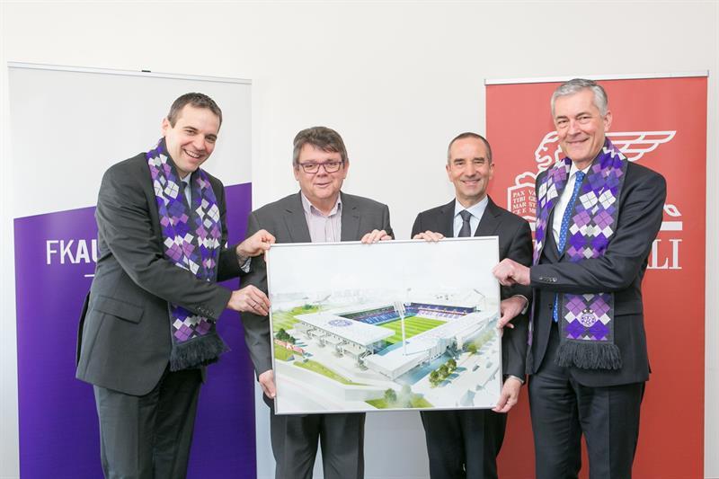 Austria-Vorstand Markus Kraetschmer, Austria-Präsident Wolfgang Katzian, Generali CEO Alfred Leu und Generali Marketingleiter Tilman Buchner.