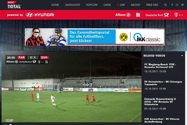 Parndorf vs Horn war bereits live zu sehen (Screenshot sporttotal.tv)